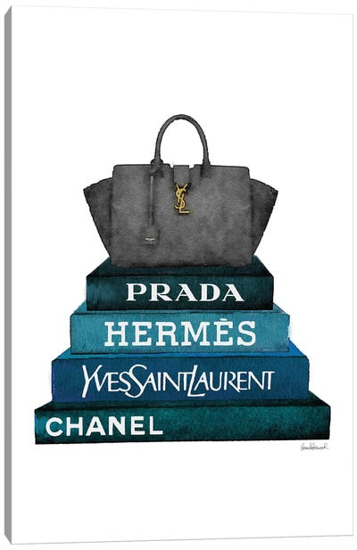 Stack Of Dark Teal And Black Fashion Books With A Yves St. Lauren Bag Canvas Art Print