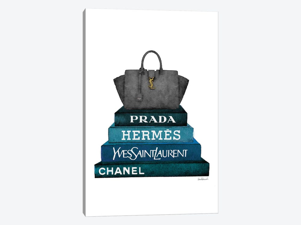 Stack Of Dark Teal And Black Fashion Books With A Yves St. Lauren Bag by Amanda Greenwood 1-piece Canvas Art