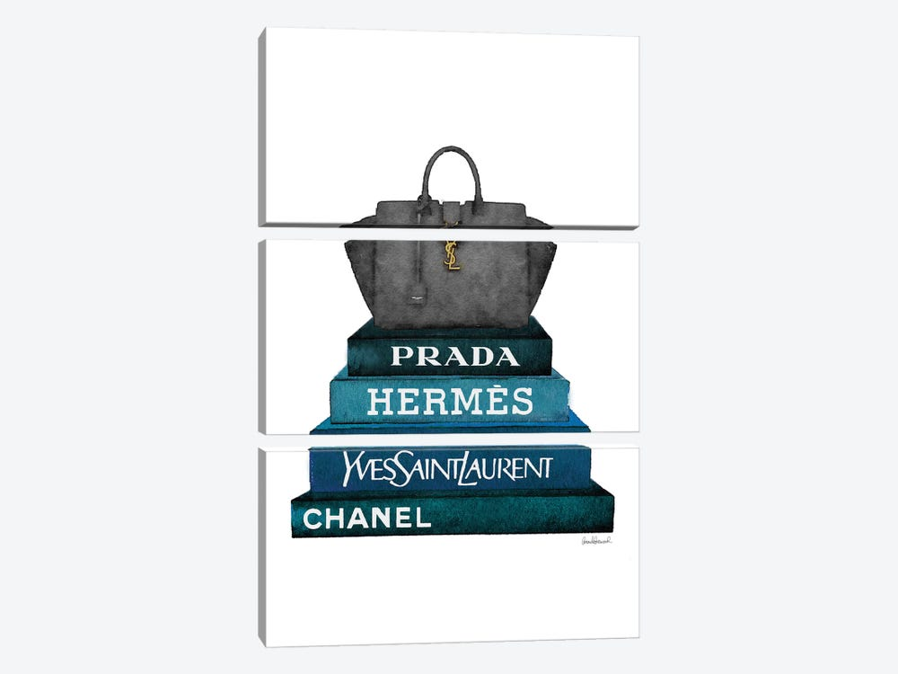 Stack Of Dark Teal And Black Fashion Books With A Yves St. Lauren Bag by Amanda Greenwood 3-piece Canvas Wall Art