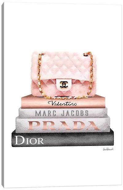 Stack Of Grey And Rose Gold Fashion Books And A Pink Chanel Bag Canvas Art Print