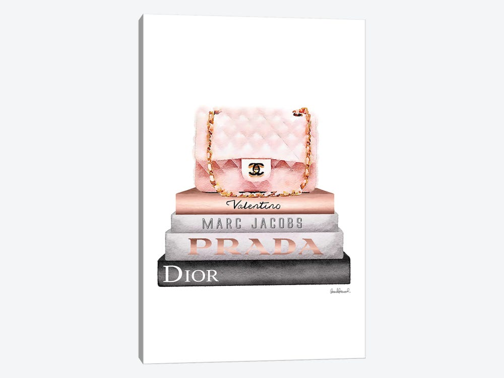 Stack Of Grey And Rose Gold Fashion Books And A Pink Chanel Bag by Amanda Greenwood 1-piece Canvas Art Print