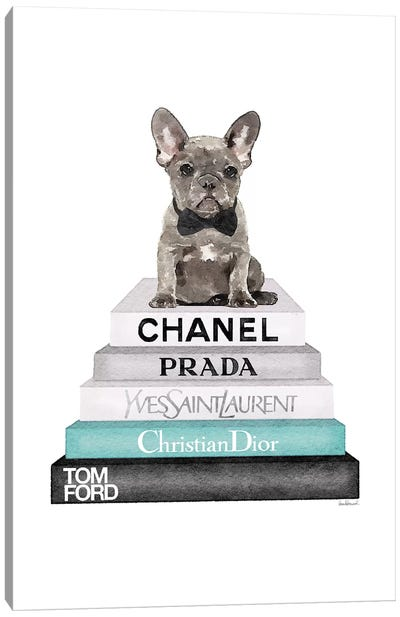 Stack Of Grey And Teal Fashion Books, And A Grey Frenchie Canvas Art Print