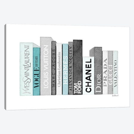 Book Shelf Full Of Grey And Teal Fashion Books Canvas Print #GRE239} by Amanda Greenwood Canvas Wall Art