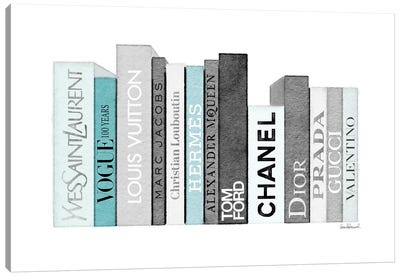 Book Shelf Full Of Grey And Teal Fashion Books Canvas Art Print