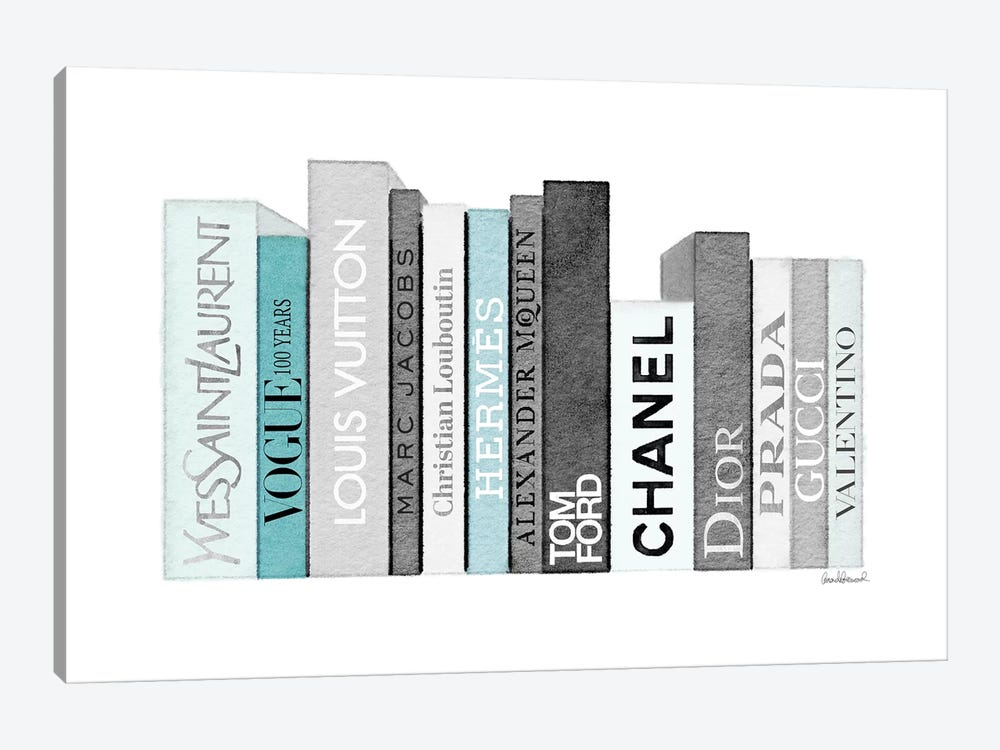 Book Shelf Full Of Grey And Teal Fashion Books by Amanda Greenwood 1-piece Canvas Wall Art