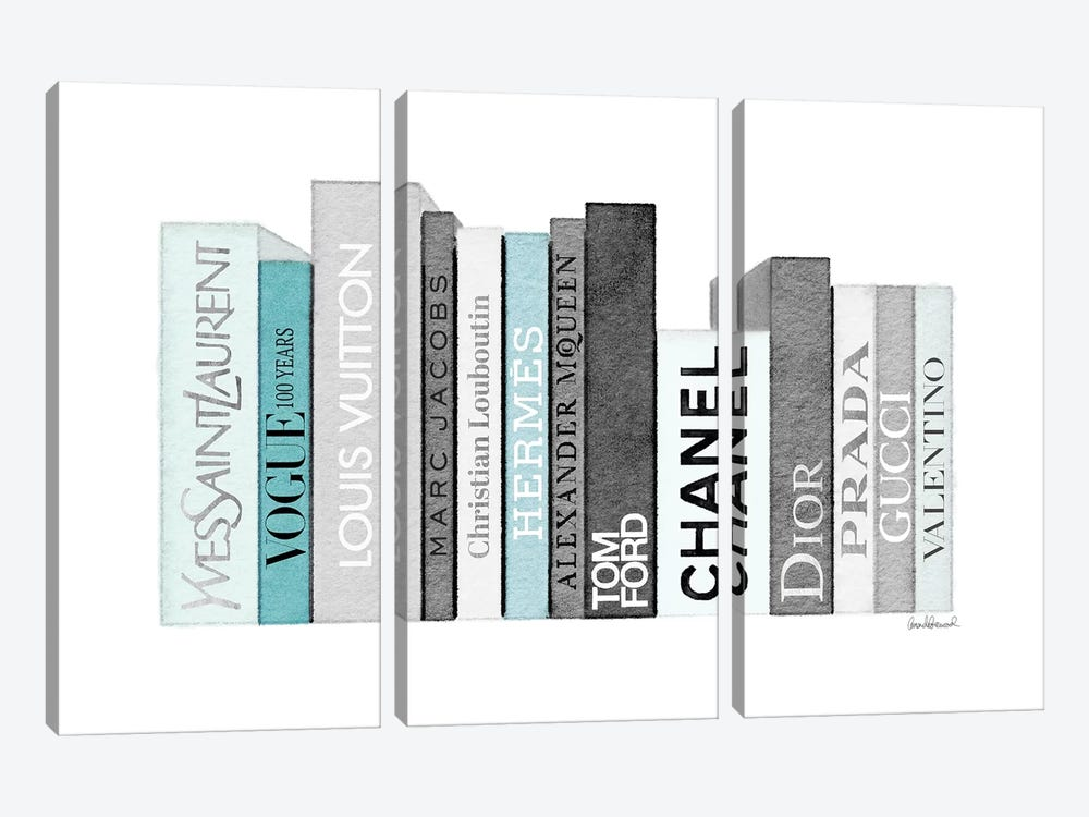 Book Shelf Full Of Grey And Teal Fashion Books by Amanda Greenwood 3-piece Canvas Wall Art