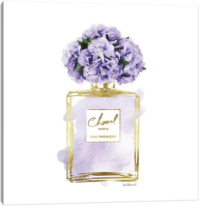 Gold And Purple Perfume Bottle With Purple Peonies Canvas Art Print