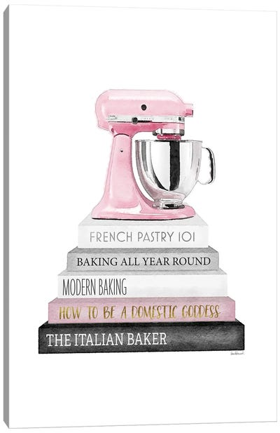 Baking Bookstack With Pink Mixer Canvas Art Print