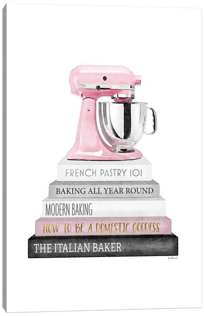 Baking Bookstack With Pink Mixer Canvas Art Print