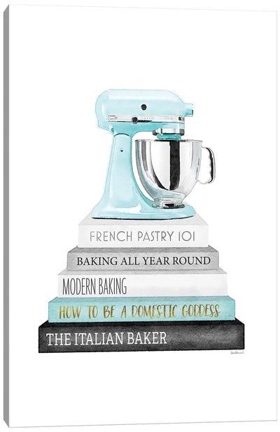 Baking Bookstack With Teal Mixer Canvas Art Print