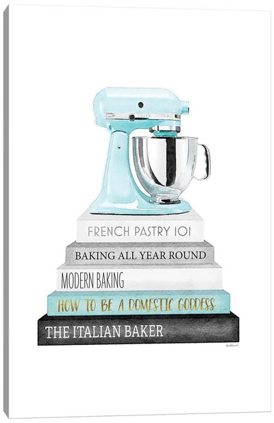 Baking Bookstack With Teal Mixer Canvas Art Print