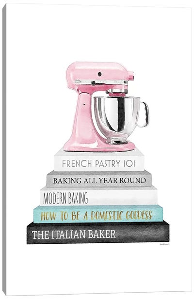 Baking Grey And Teal Bookstack With Pink Mixer Canvas Art Print