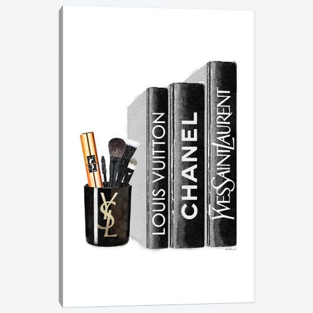 Books With YSL Candle Brushes Canvas Print #GRE244} by Amanda Greenwood Canvas Artwork