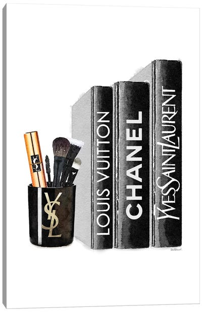 Books With YSL Candle Brushes Canvas Art Print