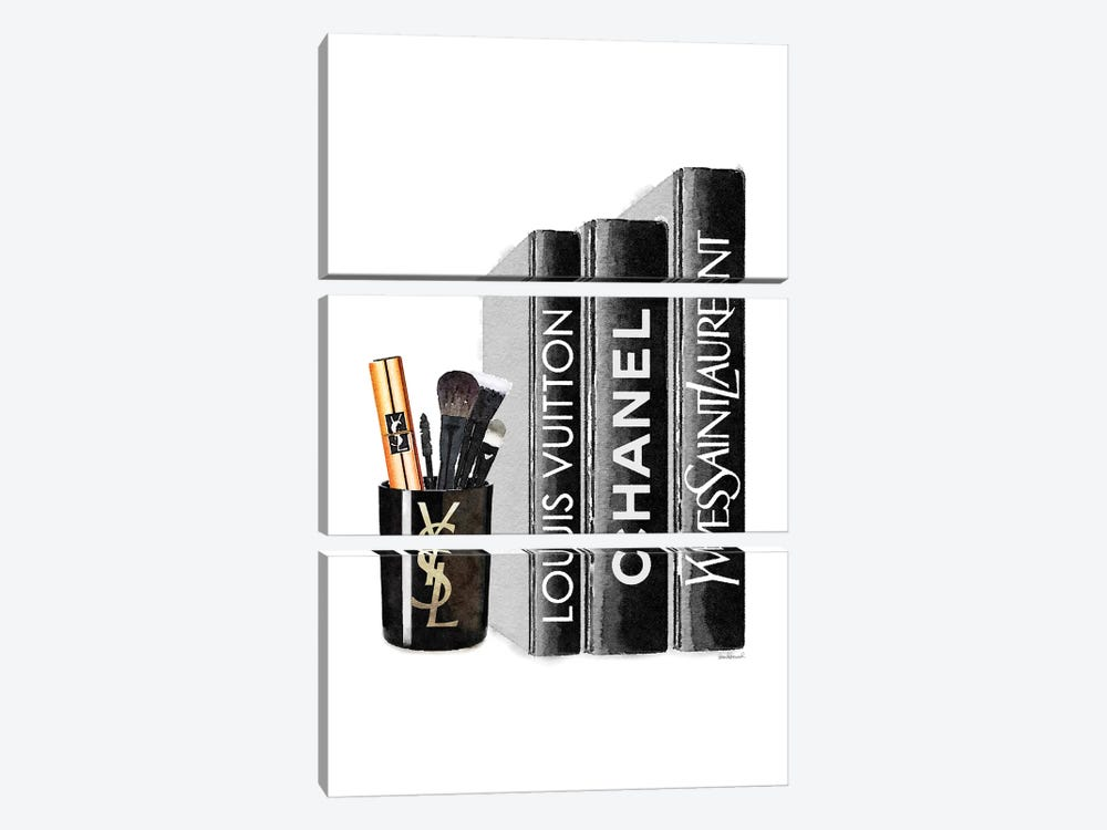Books With YSL Candle Brushes by Amanda Greenwood 3-piece Canvas Art