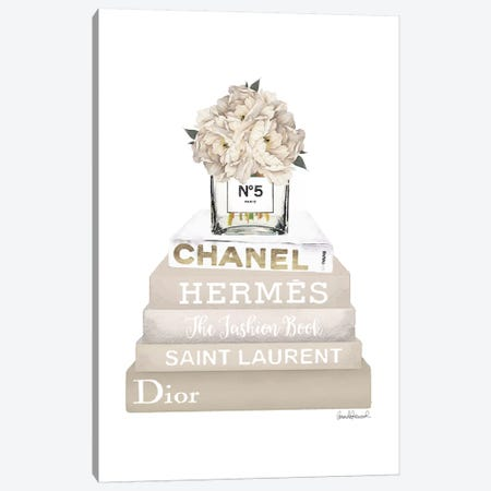 Cream, Champagne, And Gold Bookstack Topped By Vase With White Peony Canvas Print #GRE245} by Amanda Greenwood Canvas Artwork