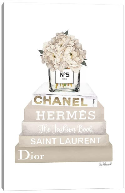 Cream, Champagne, And Gold Bookstack Topped By Vase With White Peony Canvas Art Print