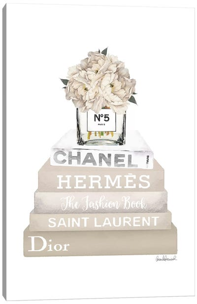 Cream, Champagne, And Silver Bookstack Topped By Vase With White Peony Canvas Art Print