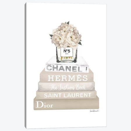 Cream, Champagne, And Silver Bookstack Topped By Vase With White Peony Canvas Print #GRE246} by Amanda Greenwood Canvas Wall Art