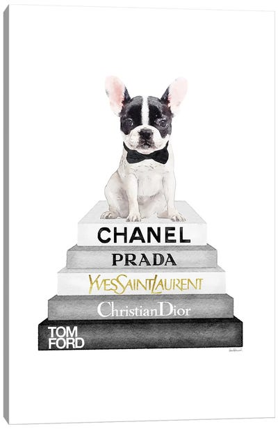 Grey And Black Bookstack Topped With White Frenchie Canvas Art Print