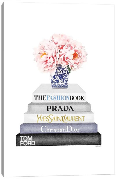 Grey And Blue Bookstack Topped With Blue Vase Canvas Art Print
