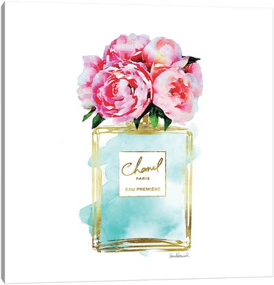 Gold And Teal Perfume Bottle With Pink Peonies Canvas Print #GRE24