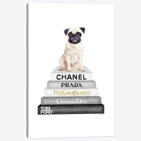 Grey On Grey Bookstack Topped By Pug Canvas Print #GRE250} by Amanda Greenwood Canvas Art