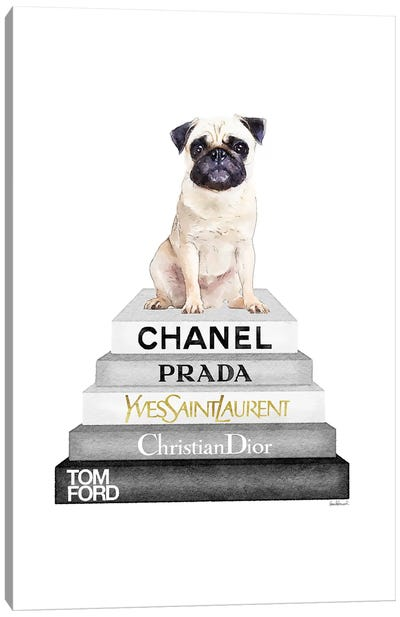 Grey On Grey Bookstack Topped By Pug Canvas Art Print