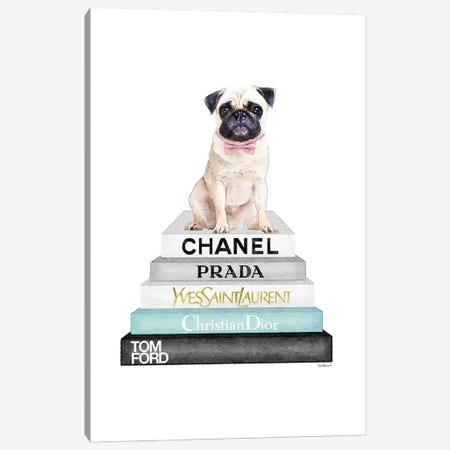 Grey And Teal Bookstack Topped By Pug Canvas Print #GRE251} by Amanda Greenwood Canvas Wall Art