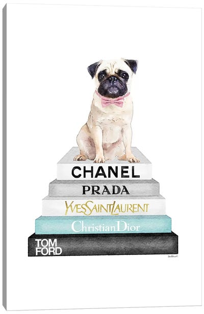 Grey And Teal Bookstack Topped By Pug Canvas Art Print