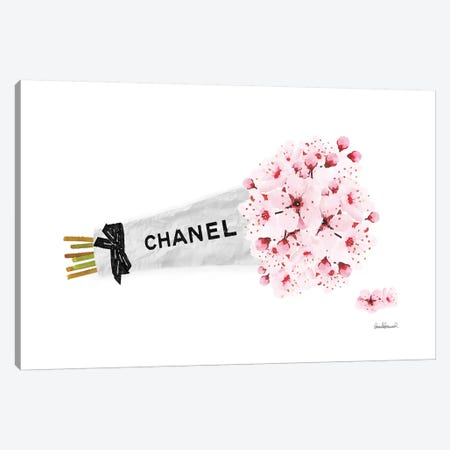 Chanel Cherry Blossom Flower Bouquet Canvas Print #GRE253} by Amanda Greenwood Canvas Artwork