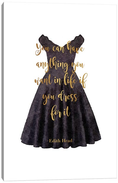 Black Dress Anything You Want Quote In Gold Canvas Art Print