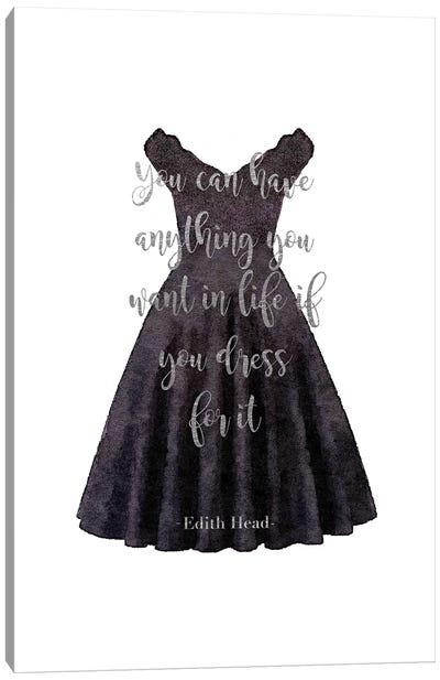 Black Dress Anything You Want Quote In Silver Canvas Art Print