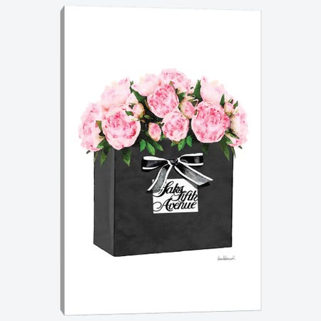 Saks 5th Bag With Pink Peony Canvas Print #GRE265} by Amanda Greenwood Canvas Wall Art
