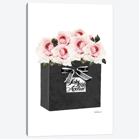 Saks 5th Bag With Pink Roses Canvas Print #GRE266} by Amanda Greenwood Canvas Artwork