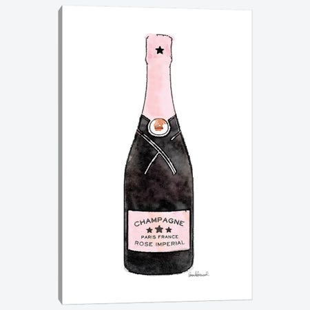Champagne Pinker Single Bottle Canvas Print #GRE267} by Amanda Greenwood Canvas Art