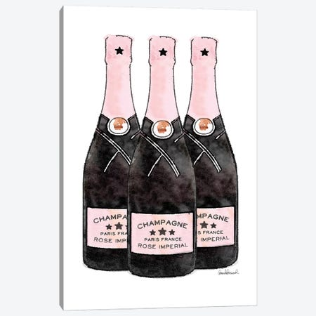 Champagne Pinker Three Bottle Canvas Print #GRE268} by Amanda Greenwood Art Print