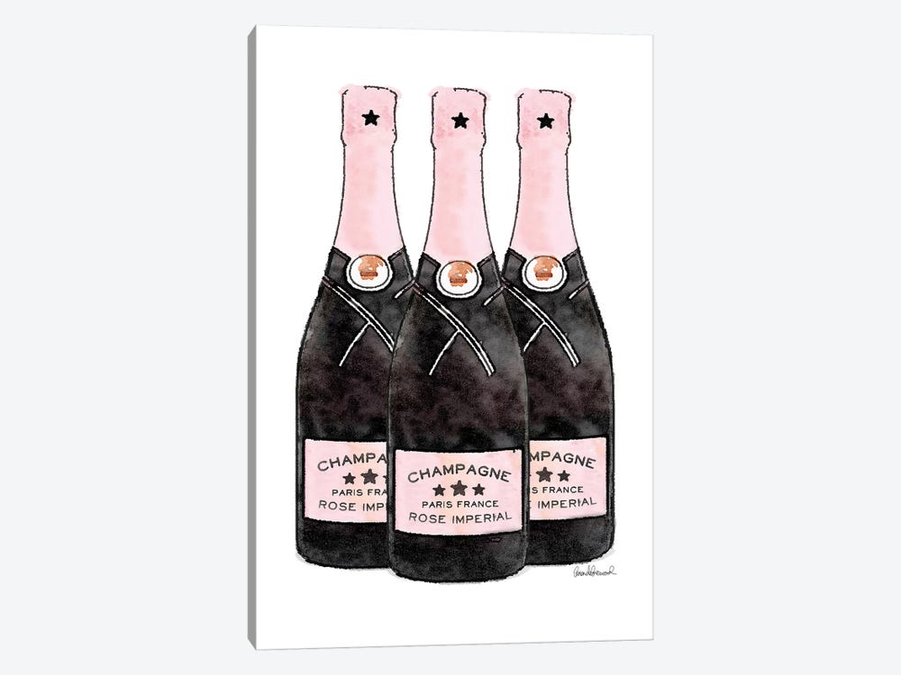 Champagne Pinker Three Bottle 1-piece Canvas Wall Art