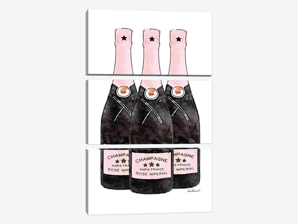 Champagne Pinker Three Bottle by Amanda Greenwood 3-piece Canvas Artwork