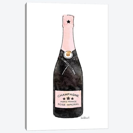 Champagne Pink Single Bottle Canvas Print #GRE269} by Amanda Greenwood Canvas Art Print
