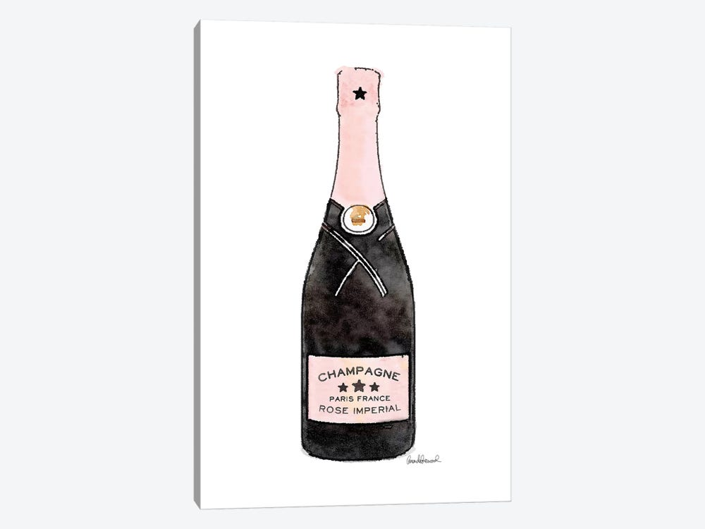 Champagne Pink Single Bottle by Amanda Greenwood 1-piece Canvas Print