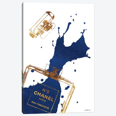 Gold Perfume Bottle With Navy Blue Splash Canvas Print #GRE26} by Amanda Greenwood Art Print