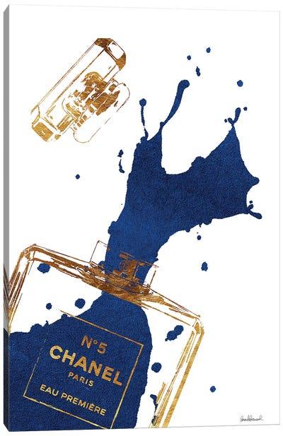 Gold Perfume Bottle With Navy Blue Splash Canvas Art Print