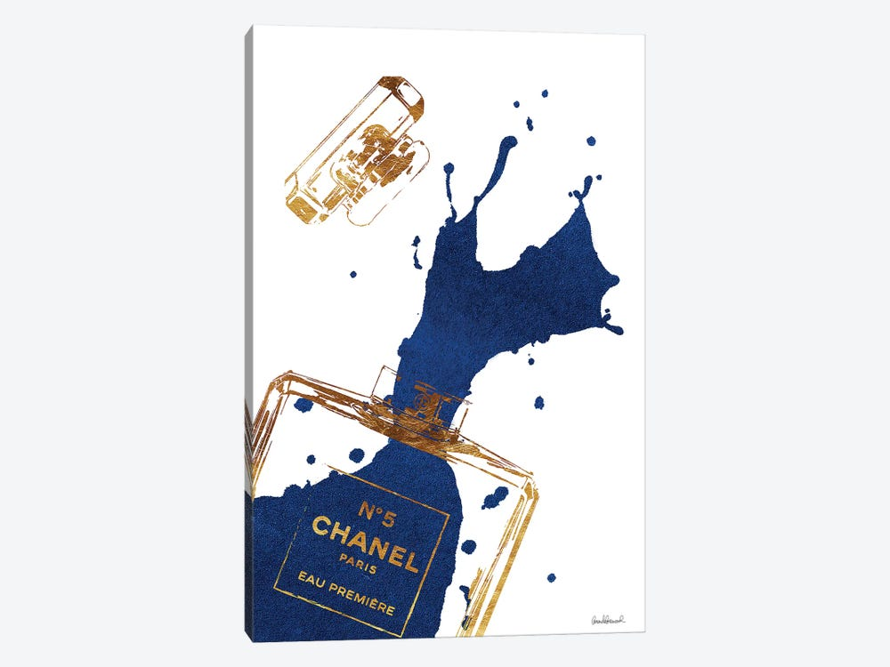Gold Perfume Bottle With Navy Blue Splash by Amanda Greenwood 1-piece Canvas Print