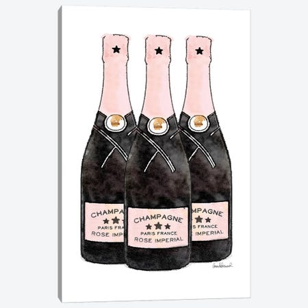 Champagne Pink Three Bottle Canvas Print #GRE270} by Amanda Greenwood Canvas Artwork