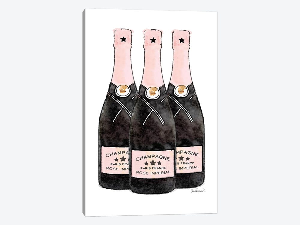 Champagne Pink Three Bottle by Amanda Greenwood 1-piece Canvas Art Print