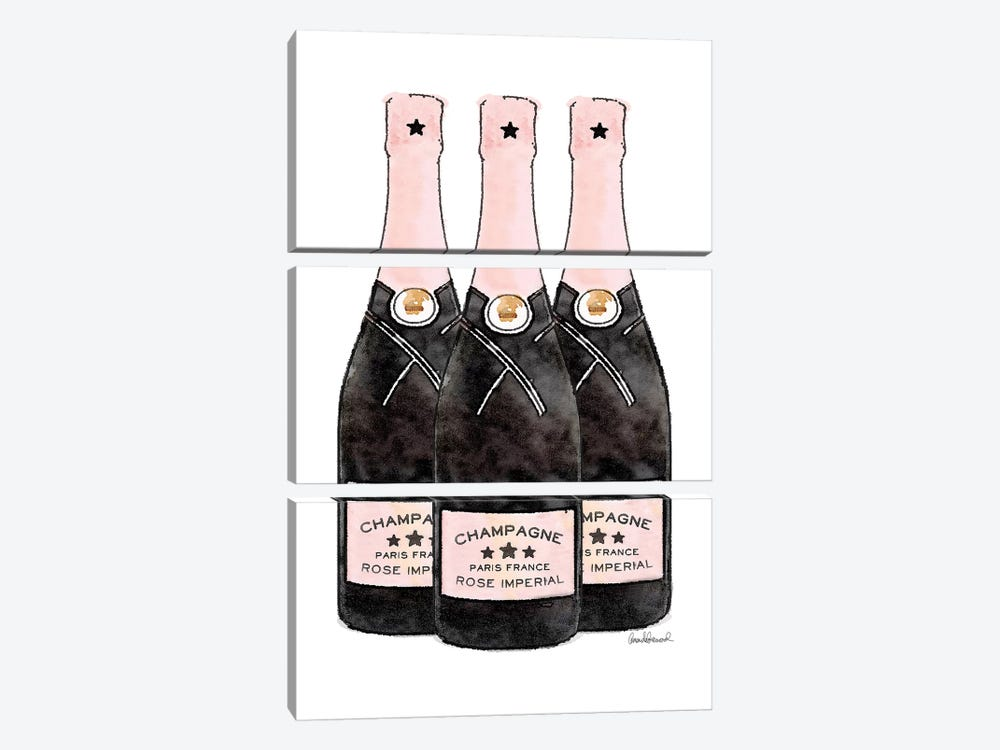 Champagne Pink Three Bottle by Amanda Greenwood 3-piece Canvas Print