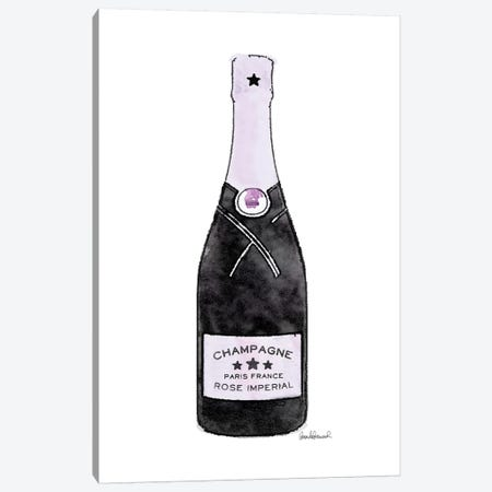 Champagne Purple Single Bottle Canvas Print #GRE271} by Amanda Greenwood Canvas Wall Art