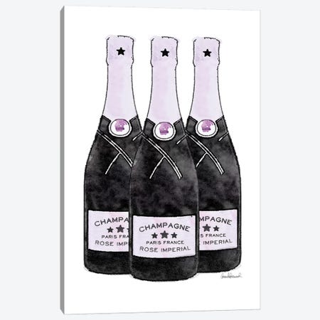 Champagne Purple Three Bottle Canvas Print #GRE272} by Amanda Greenwood Canvas Artwork