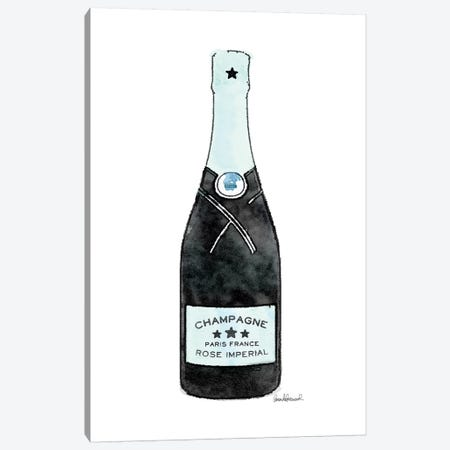 Champagne Teal Single Bottle Canvas Print #GRE273} by Amanda Greenwood Canvas Wall Art